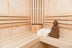 Bastu, brunnsort och meditationbakgrund Royaltyfri Fotografi
