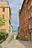Bastugatan at Södermalm in Stockholm. Mariahissen at the foot of Mariaberget erected in 1885 and designed by architect Gustaf Dahl. He gave the building a Royalty Free Stock Photos