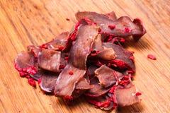 Basturma - свинина высушенное мясо Стоковое Фото