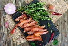 Basturma espasmódico Partes de carne com pimenta vermelha Aperitivo asiático tradicional da carne fotografia de stock royalty free