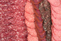 Basturma Sujukh salami. Basturma, sujukh, salami sliced on the dish stock photography