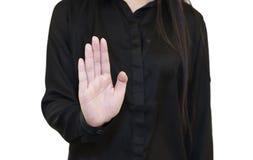 Basura de la mujer a mano Foto de archivo libre de regalías
