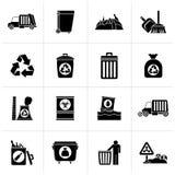 Basura, limpieza e iconos negros de los desperdicios ilustración del vector