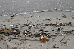 Basura médica lavada para arriba en una playa Fotos de archivo libres de regalías