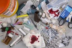 Basura médica peligrosa Fotografía de archivo libre de regalías