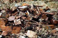 Basura oxidada de las latas de la pila en la naturaleza Fotos de archivo libres de regalías