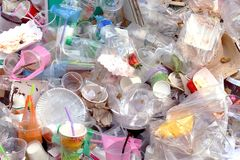 Basura, textura plástica del fondo de la botella de la basura imágenes de archivo libres de regalías