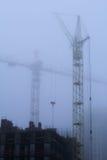 Basztowi żurawie i mgła Zdjęcie Royalty Free