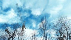 Basztowy żuraw błękitnym chmurnym niebem gałąź drzewa i obraz stock
