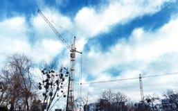 Basztowy żuraw błękitnym chmurnym niebem gałąź drzewa i fotografia stock