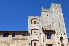 Basztowy dom w historycznym centre San Gimignano, Tuscany, Włochy Fotografia Stock