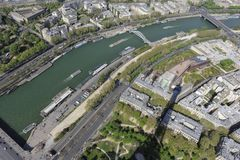 basztowy Eiffel powietrzny widok Paris zdjęcia stock