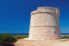 Basztowy ` Torre syna Ganxo ` Punta Prima, Minorca, Hiszpania Obraz Stock
