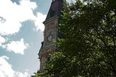 Basztowy zegar w Starym Quebec mieście Obrazy Royalty Free