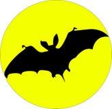 Bat. Flying bat and the moon stock illustration