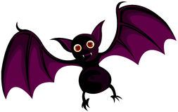 Bat. Illustration of isolated cartoon bat flying on white background Royalty Free Stock Photos