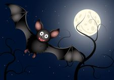 Bat. Illustration of cartoon-bat flying trough the night Royalty Free Stock Photography