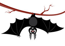 Bat 3. The  illustration a ridiculous, cheerful bat, hangs on a tree having spread wide wings Royalty Free Stock Photography
