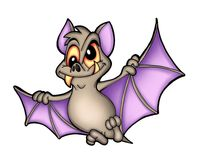 Bat. Color illustration of flying bat stock illustration