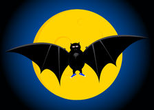 The bat. Vampire against the moon stock illustration