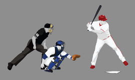 At bat. A baseball scene focusing on home plate and the approaching pitch. Alternate file format is Adobe Illustrator .ai version 8 Stock Illustration