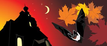 Bat on a background of nightly castle. Halloween Stock Images