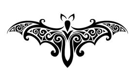 The bat. Balck and white vector illustration. Stock Images