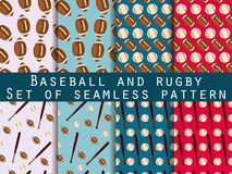 Bat and ball. Baseball and rugby. Set of seamless patterns. For wallpaper, bed linen, tiles, fabrics, backgrounds. Stock Images