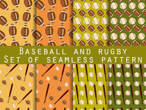 Bat and ball. Baseball and rugby. Set of seamless patterns. For wallpaper, bed linen, tiles, fabrics, backgrounds. Stock Photo