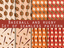 Bat and ball. Baseball and rugby. Set of seamless patterns. For wallpaper, bed linen, tiles, fabrics, backgrounds. Vector Royalty Free Stock Image