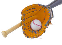 Bat, ball and glove Royalty Free Stock Image