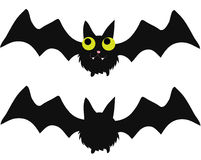 Bat and bat silouhette. A bat and its silouhette perfectly suitable for Halloween or Horror party invitations and cards Stock Images