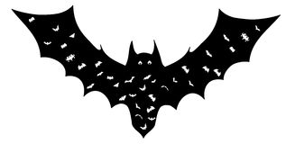 Bat black silhouette with spread wings. Isolated Royalty Free Stock Photo