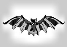 Bat, black and white stylized ornamental symmetric drawing Stock Photos