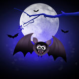 Bat bloodsucker. Illustration of Halloween bat in the night Royalty Free Stock Photos