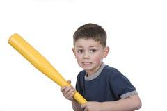 Bat boy. Young boy holding a bat Royalty Free Stock Photos