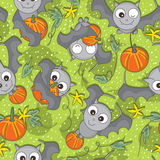 Bat Bring Pumpkin Seamless Pattern_eps Royalty Free Stock Image