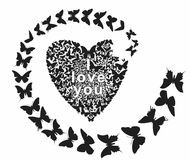 Bat. Butterfly folded heart and I love you Royalty Free Stock Images
