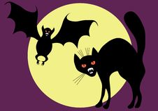Bat and cat. Bat and cat on a background of the moon. A vector illustration Royalty Free Stock Images