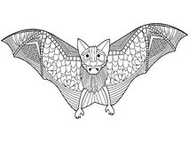Bat coloring book vector for adults Royalty Free Stock Image