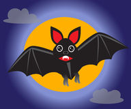 'bat' contre le contexte de la lune illustration stock