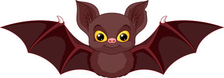 Bat. Cute bat on a white background stock illustration