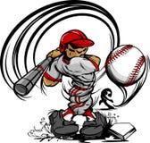 'bat' de oscillation de dessin animé de joueur de baseball Photo libre de droits