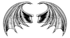 Bat or Dragon Wings. A demon dragon or vampire bat wings horror Halloween design in a vintage woodcut style Stock Photo