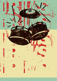 Bat du tambour de l'affiche de grunge de style de vintage Rétro illustration typographique de vecteur illustration libre de droits