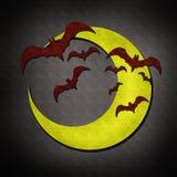 'bat' et lune dans l'aquarelle de jour de Veille de la toussaint Photographie stock libre de droits