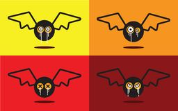 Bat flat design halloween icon set. Vector illustration Royalty Free Stock Photos