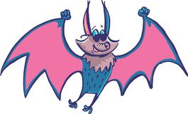 Bat Fly with sunny glasses. Humour illustration with silly bat with sunny glasses fly in the sky vector illustration