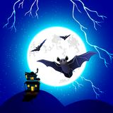 Bat flying in Halloween Night. Illustration of haunted house with flying bat in scary halloween night Stock Illustration
