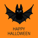 Bat flying. Happy Halloween. Cute cartoon character with big open wing, ears and legs. Black silhouette. Forest animal Stock Photo